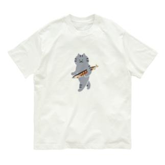 SUIMINグッズのお店の【中】盗んだ焼きサンマと歩き出す猫 Organic Cotton T-shirts