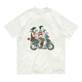 【バリの人々】バイク家族乗り Organic Cotton T-Shirt
