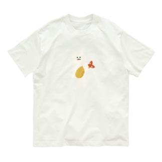 SUIMINグッズのお店の【中】エビフライをさわやかに持ち運ぶ猫 Organic Cotton T-shirts