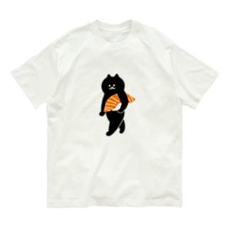 【大】サーモンの握り寿司をかっこよく持ち運ぶ猫 Organic Cotton T-shirts