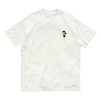 SUIMINグッズのお店の【小】海老の握り寿司を機嫌よく持ち運ぶ猫 Organic Cotton T-shirts