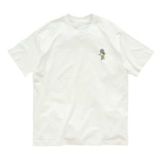 SUIMINグッズのお店の【小】玉子の握り寿司をのんびり持ち運ぶ猫 Organic Cotton T-shirts