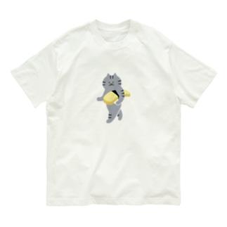 SUIMINグッズのお店の【中】玉子の握り寿司をのんびり持ち運ぶ猫 Organic Cotton T-shirts