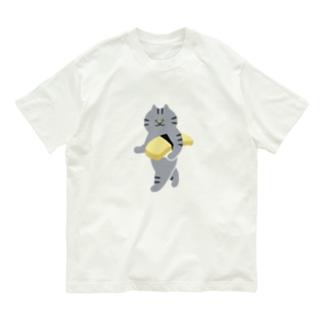 【大】玉子の握り寿司をのんびり持ち運ぶ猫 Organic Cotton T-shirts
