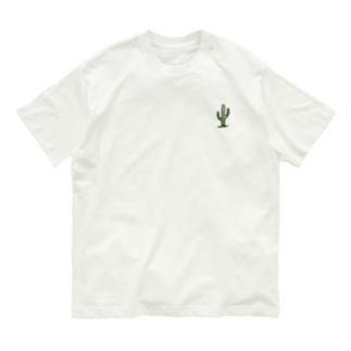 サボテンと文字(バックプリントあり) Organic Cotton T-shirts