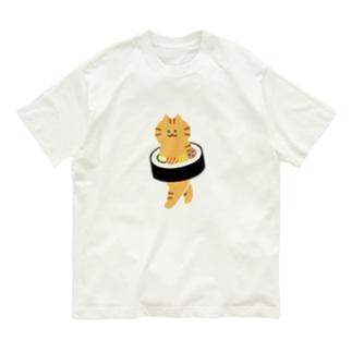 【大】太巻きを自らに巻きつけて運ぶ猫 Organic Cotton T-shirts