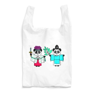 パンダ宮司とパンダ巫女淡色 Reusable Bag