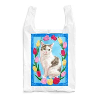 チューリップと猫 Reusable Bag