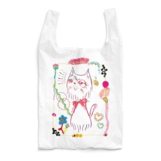 刺繍飾りのねこ(暖色) Reusable Bag