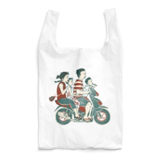 【バリの人々】バイク家族乗り Reusable Bag