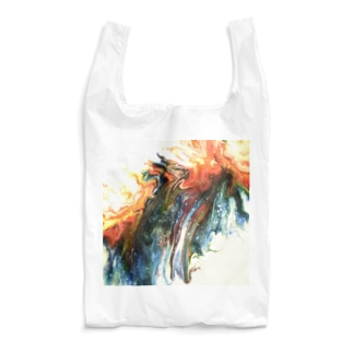 白・オレンジ・青が溶ける Reusable Bag