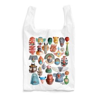 お面いっぱいいっぱい Reusable Bag