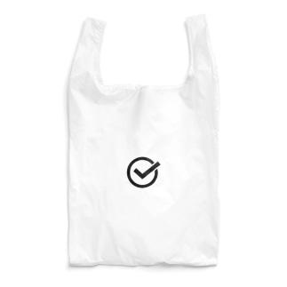 チェックマーク 白×黒 まる。 Reusable Bag