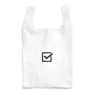 チェックマーク 白×黒 しかく。 Reusable Bag