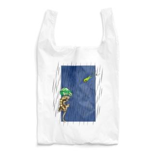 雨の日のアカメアマガエルとクレステッドゲッコー(ホワイト) Reusable Bag