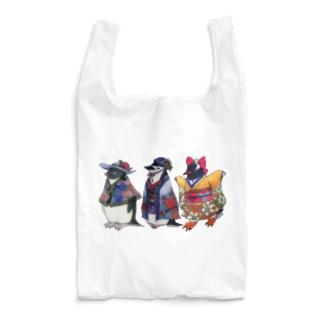 立てば芍薬、座れば牡丹、歩く姿は百合の花-Pygoscelis Kimono Penguins- Reusable Bag