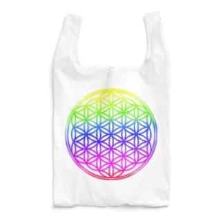 フラワーオブライフ(レインボー/周囲白透明済) Reusable Bag