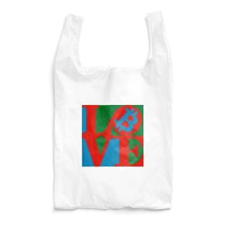 カマラオンテのラブビットコイン 仮想通貨 ロバート・インディアナ LOVE風 Reusable Bag