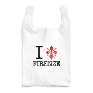 カマラオンテのI LOVE FIRENZE アイ ラブ フィレンツェ、 イタリア フィレンツェの紋章 百合の紋章 Il giglio di Firenze FIRENZE フィレンツェ イタリア フローレンス イタリア Reusable Bag