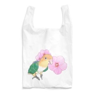 お花とシロハラインコちゃん【まめるりはことり】 Reusable Bag
