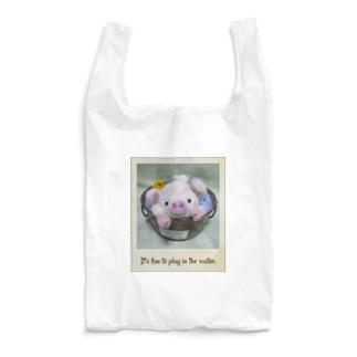 ぶたとヒヨコの水遊び(ロゴ入り) Reusable Bag