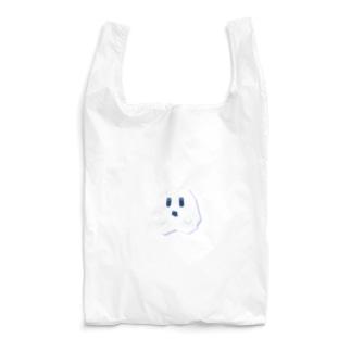 白にとけこむカクカクしたおばけ Reusable Bag