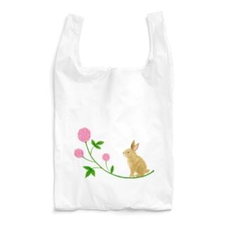 うさぎとピンクのお花 Reusable Bag