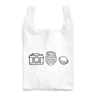 カメラとレンズとキャップ(黒線) Reusable Bag