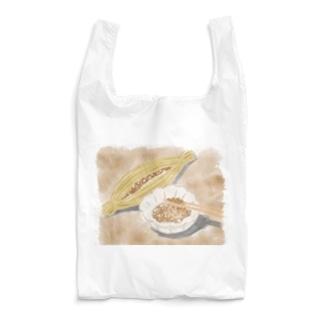 水彩画の納豆 Reusable Bag