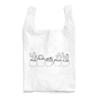 手描きのサボテン(淡色用) Reusable Bag