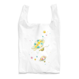めろんぽっぷのお店だよのカメさん気球にのって♪(クリア) Reusable Bag