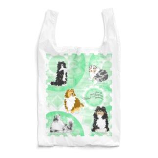 Five colors of Shetland Sheepdogs.~Mint green~ Reusable Bag