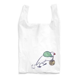 お買いものに向かうふろしき文鳥 Reusable Bag