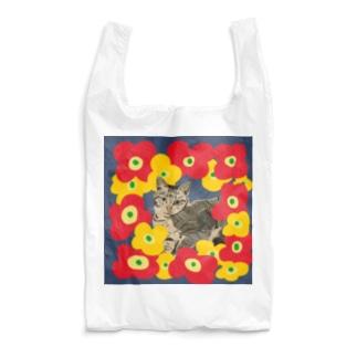 美人なネコ フラワー ネイビー Reusable Bag