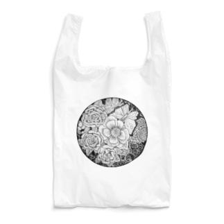 モノクロ flower Reusable Bag