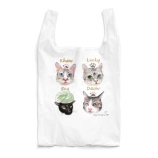 なにぬ猫-YAの<うちの子+にくきゅう*ポートレート>KHAW & DAOW&BEA&LUCKY Reusable Bag
