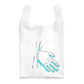 中から手が出ている(ライトブルー) Reusable Bag
