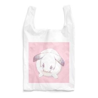 顔を洗う勾玉うさぎさん/桃背景 Reusable Bag