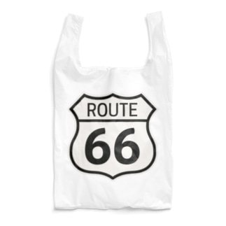 ROUTE 66-ルート66-モノクロロゴ Reusable Bag