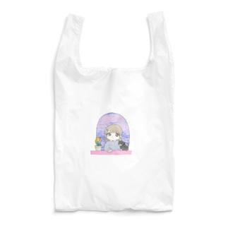 本調子の102号室(春) 女の子とねことチューリップ Reusable Bag