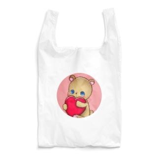 ハート抱っこくま (うすいピンク) Reusable Bag