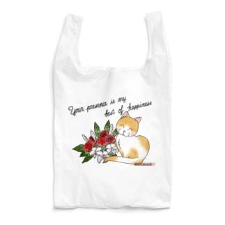 花束とニコニコ猫ちゃん Reusable Bag