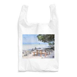 ミクロネシア:リーフが見える浜辺の風景 Micronesia: seaside of Pohnpei Reusable Bag