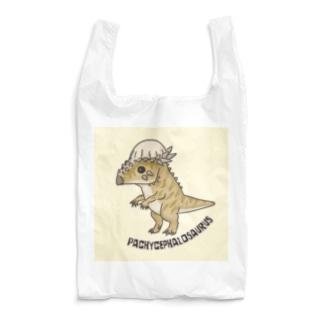 恐竜 パキケファロサウルス (背景カラー) エコバッグ など Reusable Bag