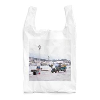 ギリシャ:エギナ島の波止場の風景写真 Greece: Harbor view of Egina Is. Reusable Bag