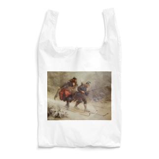 世界の絵画アートグッズのKnud Bergslien《Skiing Birchlegs 王子と山を渡る》 Reusable Bag