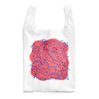 DINOSAUR ピンク×ブルー Reusable Bag