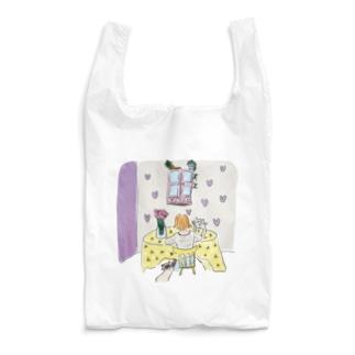 花と猫 Reusable Bag