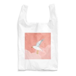 カモメ、ピンクの空を飛ぶ。  Reusable Bag