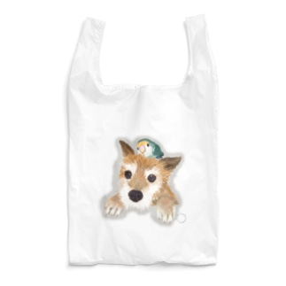 仲良しさん(わんこ&コザクラ)【薄色地用】 Reusable Bag